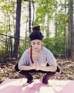 Here our columnist Kimberli is doing Malasana. This is her go to pose when she is having pelvic pain or feeling dizzy.
